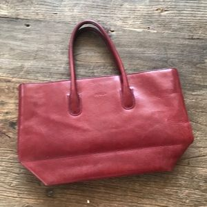 Furla Oxblood Red Leather Tote Bag